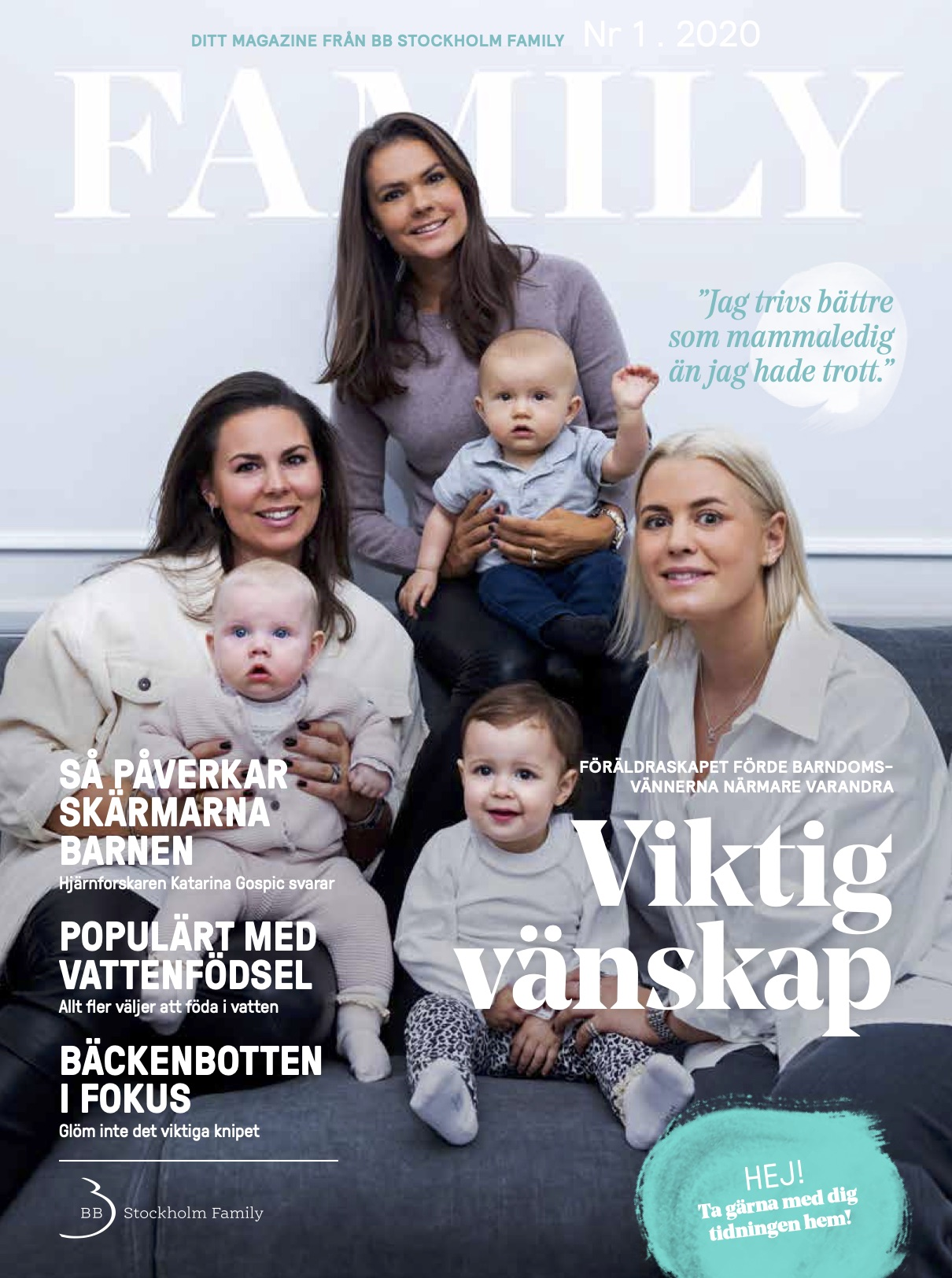 Vattenfödsel, skärmtid och systerskap i BB Stockholms tidning Family